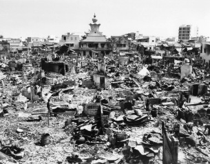 A large section of rubble is all that remained in this one block square area of Saigon on Feb. 5, 1968, after fierce Tet Offensive fighting. Rockets and grenades, combined with fires, laid waste to the area. An Quang Pagoda, location of Viet Cong headquarters during the fighting, is at the top of the photo. (AP Photo/Johner)